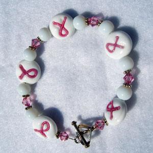 Breast Cancer Awareness bracelet with Swarovski crystals